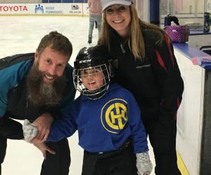 Cathy with Joe Thornton and son