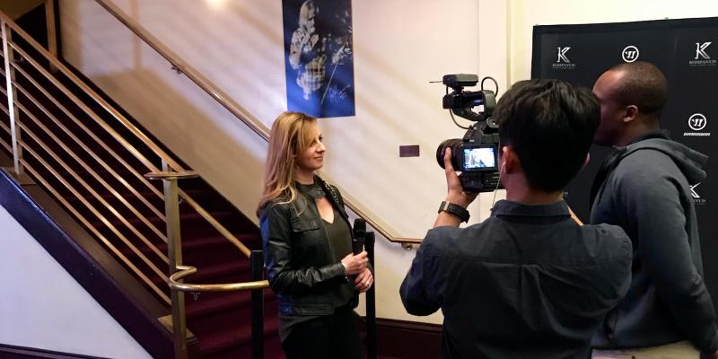Cathy Andrade interview at Joe Pavelski Kompany39 event