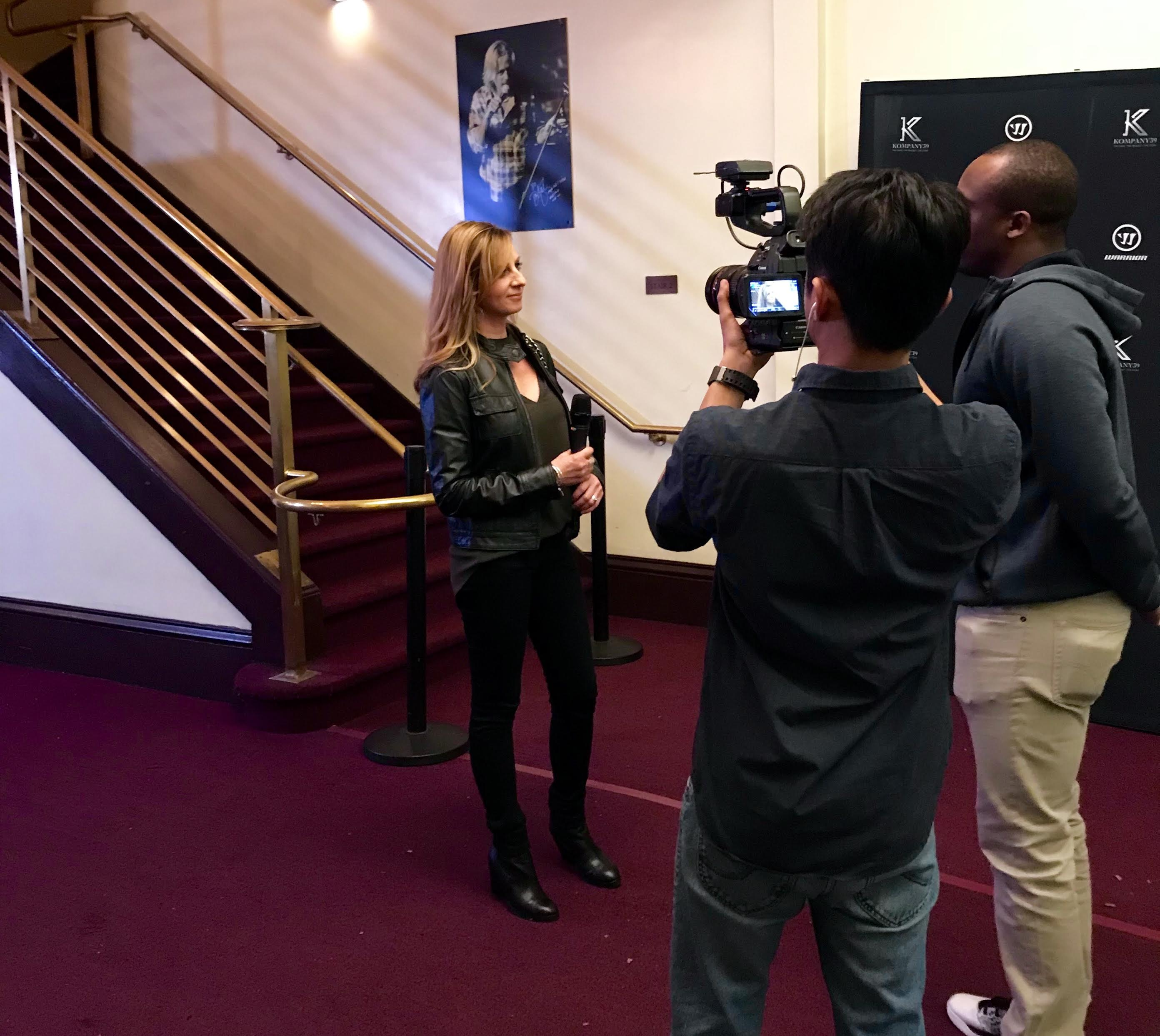 Cathy Andrade interviewed at Joe Pavelski Kompany39 event